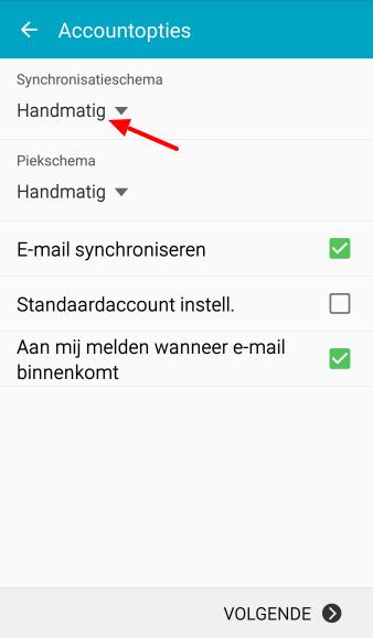 Vul in hoe vaak je account moet checken op nieuwe mails