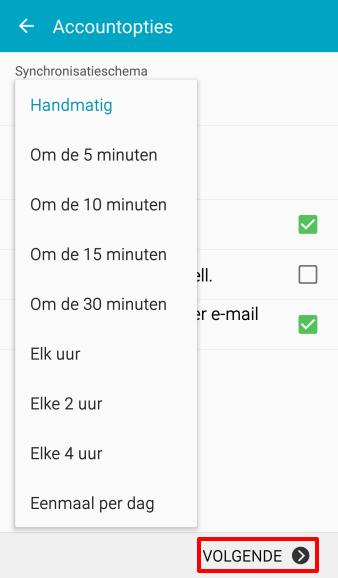 Kies hoe vaak de app checkt op nieuwe mails