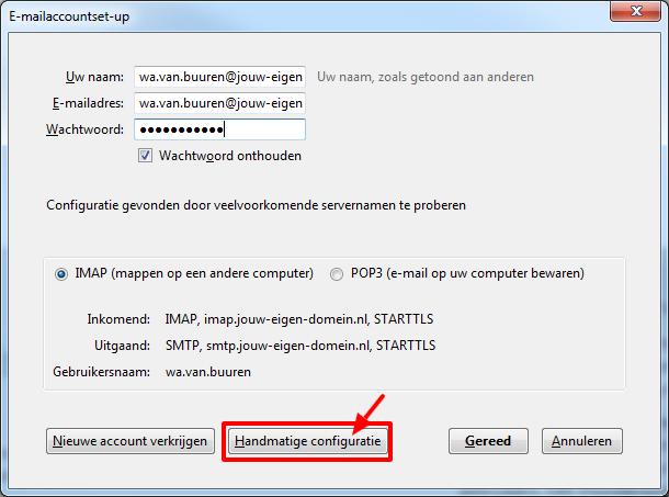 Klik op handmatige configuratie