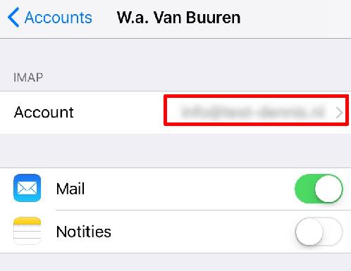 Druk op het aangemaakte e-mailaccount