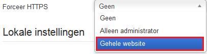 Selecteer de optie 'Gehele website'