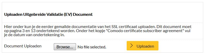 Hoe upload ik de validatie formulieren voor een EV SSL-certificaat?