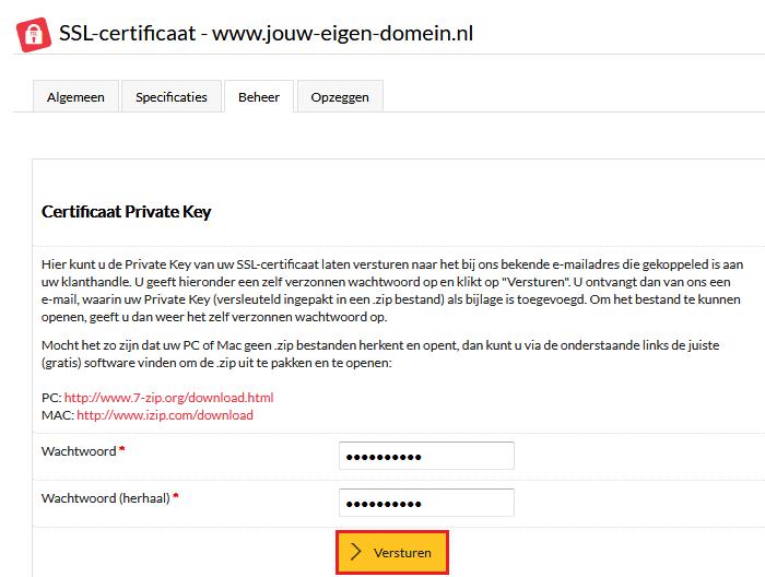 Hoe kan ik de private key per e-mail laten versturen