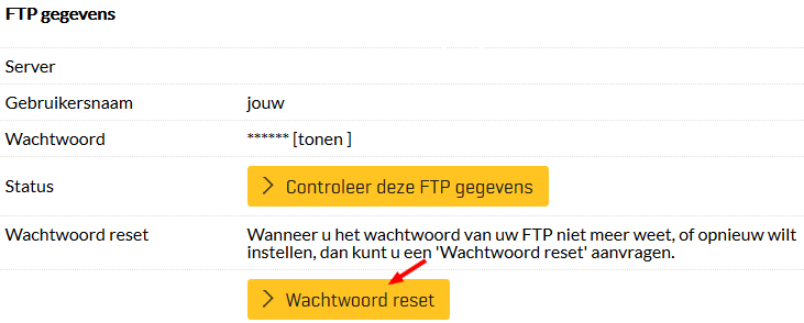 """Wijzig het wachtwoord door op de """"Wachtwoord reset"""" button te klikken"""