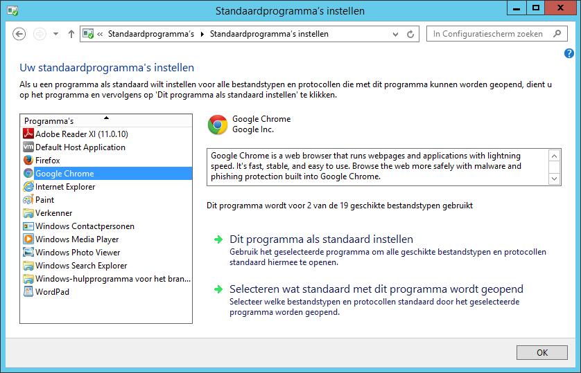 Selecteer aan de rechterkant de browser die als standaard mag worden ingesteld