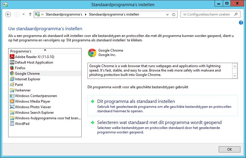 Klik op 'Dit programma als standaard instellen'