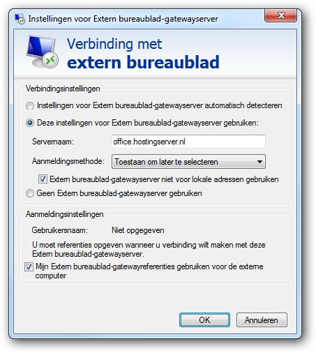Verbinding met extern bureaublad
